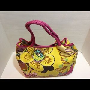 Yellow and fuchsia floral purse